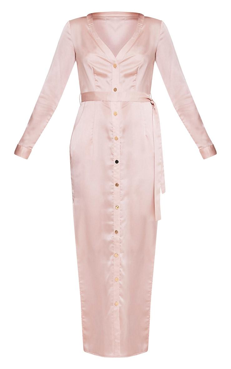 Clairia Champagne Button Down Silk Shirt Dress 3