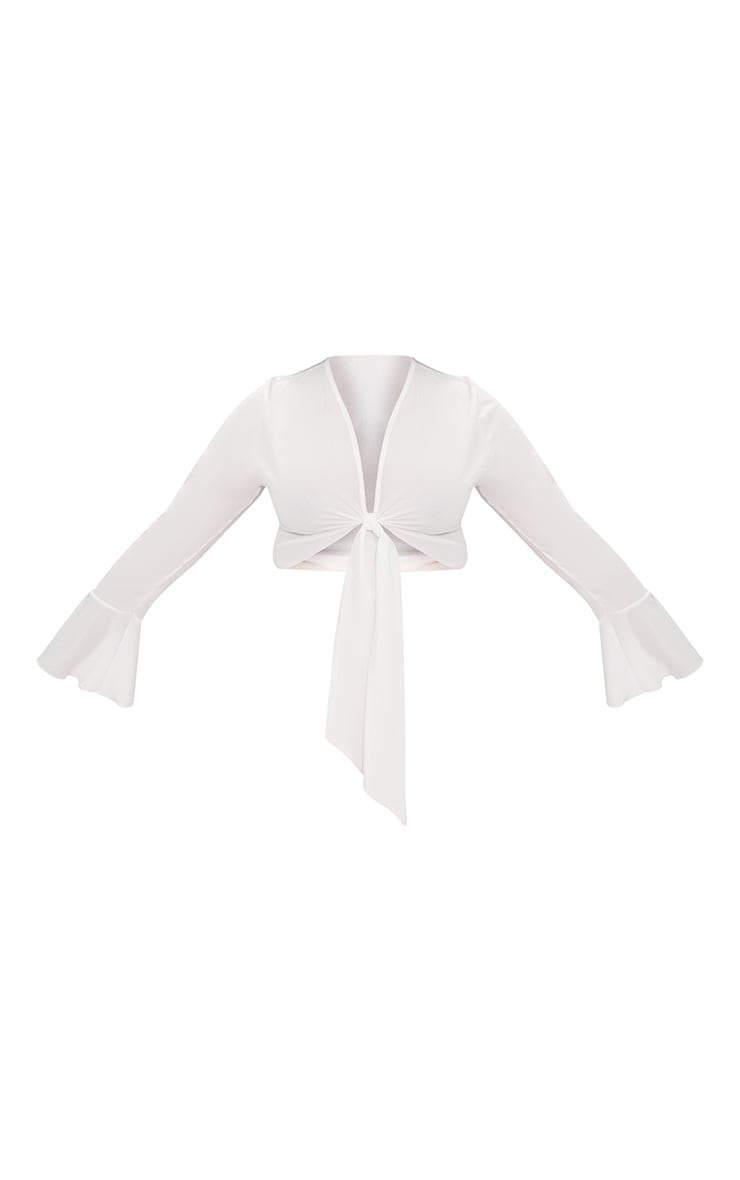 Plus White Tie Front Frill Sleeve Blouse 4