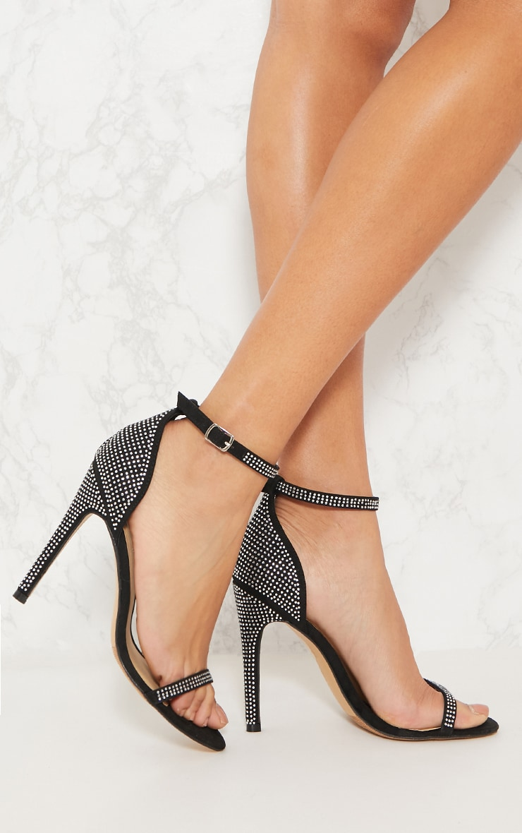 Black Diamante Barely There Heeled Sandal 1