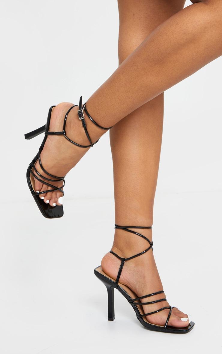 Black Squared Strappy Heels 1
