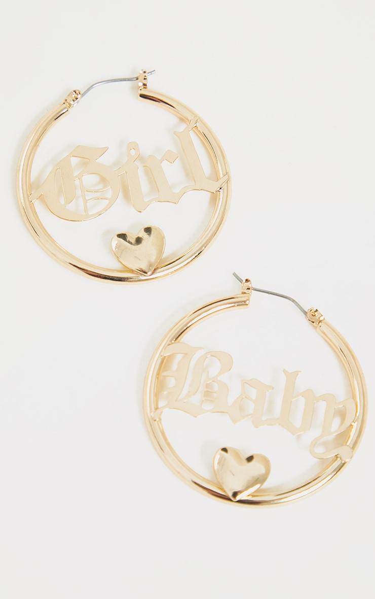 Gold Babygirl Hoop Earrings 2
