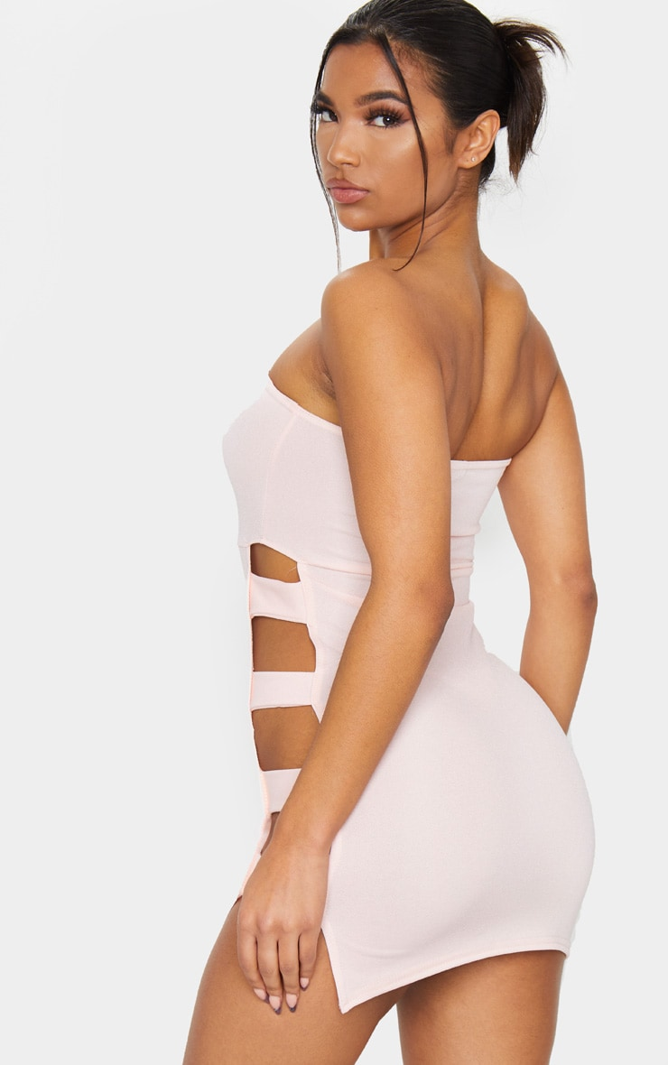 Nude Bandeau Strappy Side Bodycon Dress 2