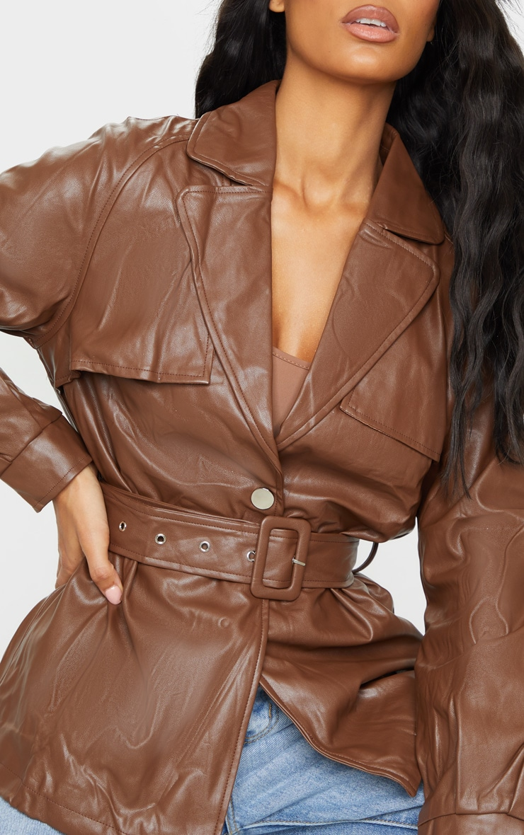 Chocolate Pu Trenched Panelled Belted Blazer 4