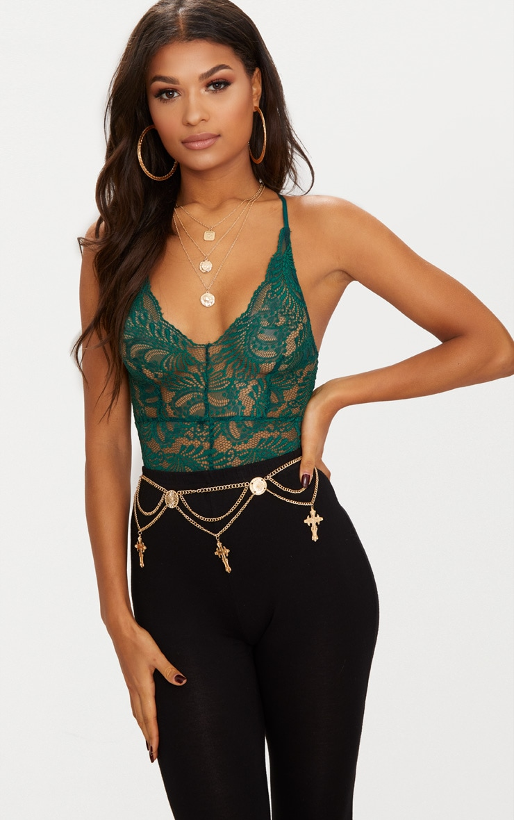 Dark Green Sheer Lace Cross Back Bodysuit