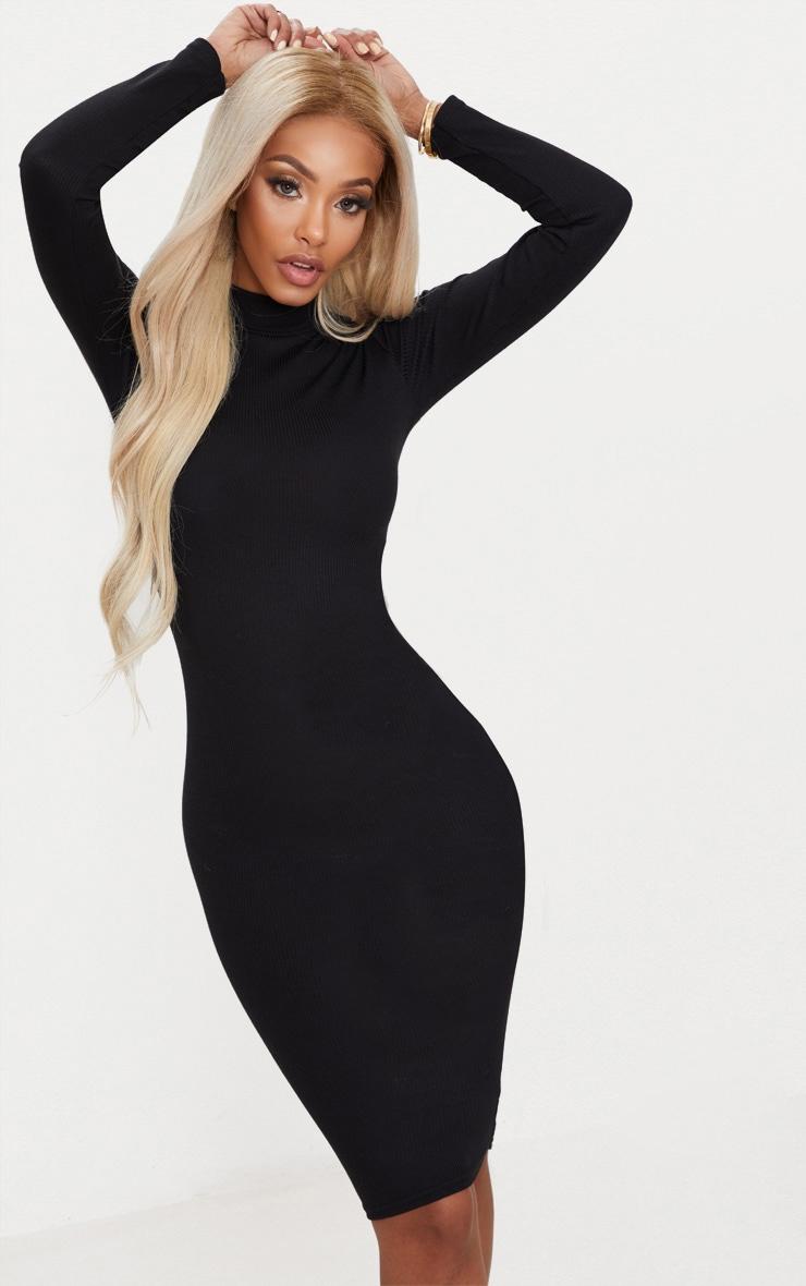 ef937af6b7010e Shape Black Ribbed High Neck Midi Dress | PrettyLittleThing AUS