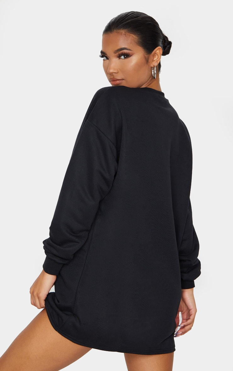 PRETTYLITTLETHING Black Embroidered Sweatshirt Dress 2