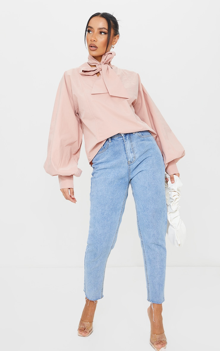 Nude Woven Plunge Pussy Bow Blouse 1