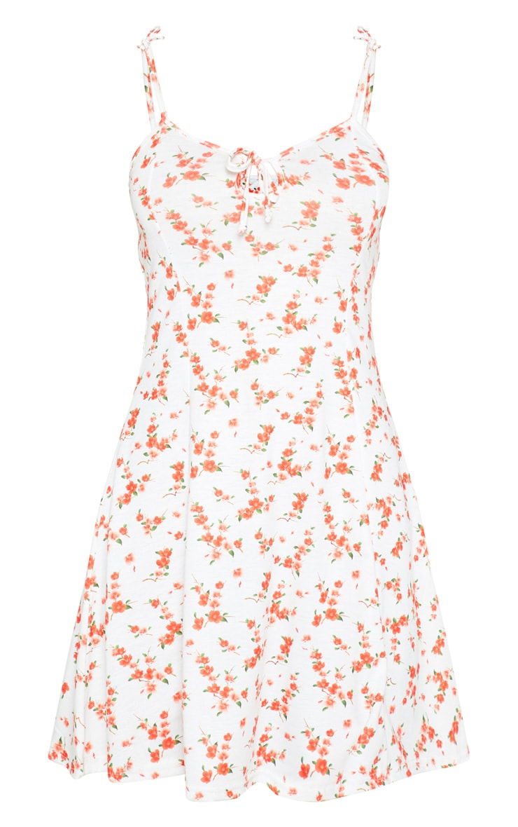 White Floral Print Jersey Tie Detail Shift Dress 3