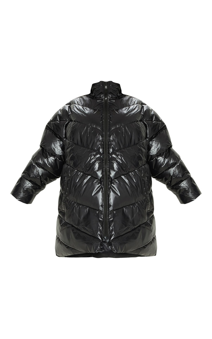 Black  High Shine Oversized Puffer  3