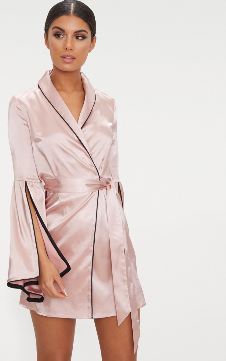 Nude Satin Flare Sleeve Binding Detail Blazer Dress 1