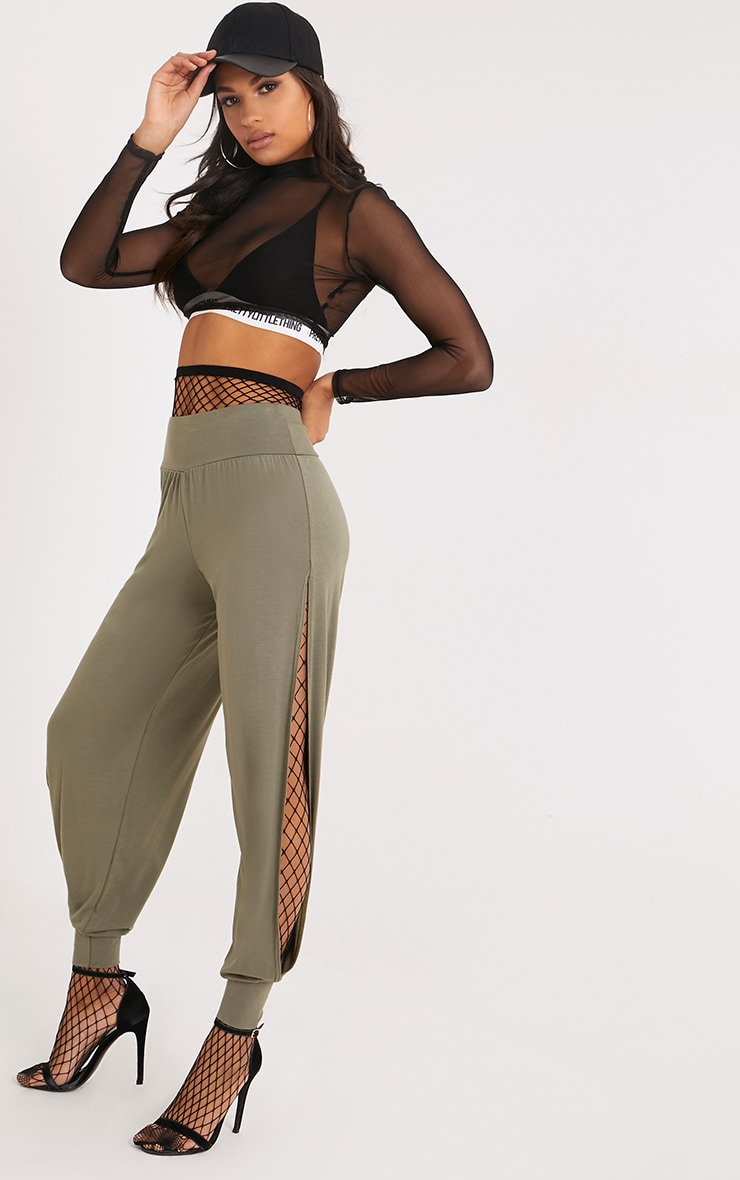 Chasity Khaki Split Side Jersey Trousers 1