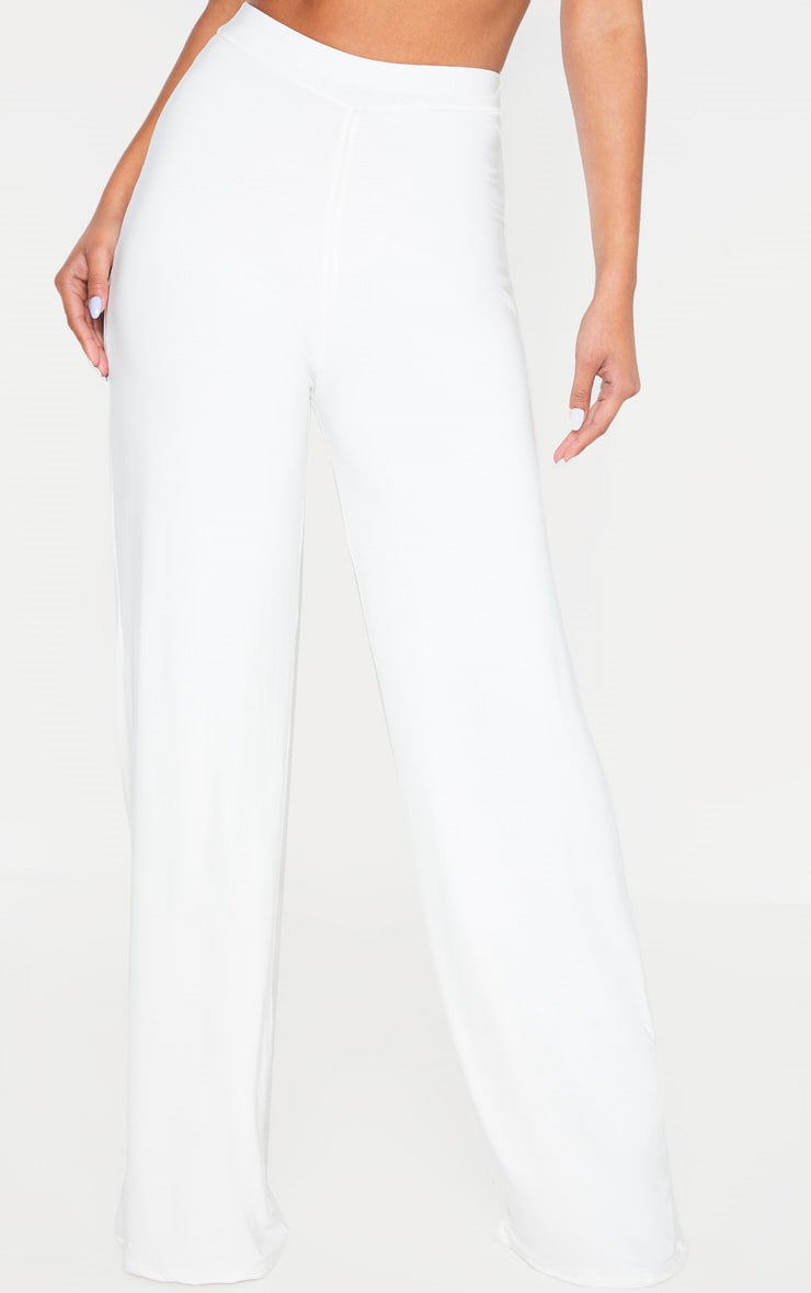 Cream Slinky Detail Wide Leg Pants 4