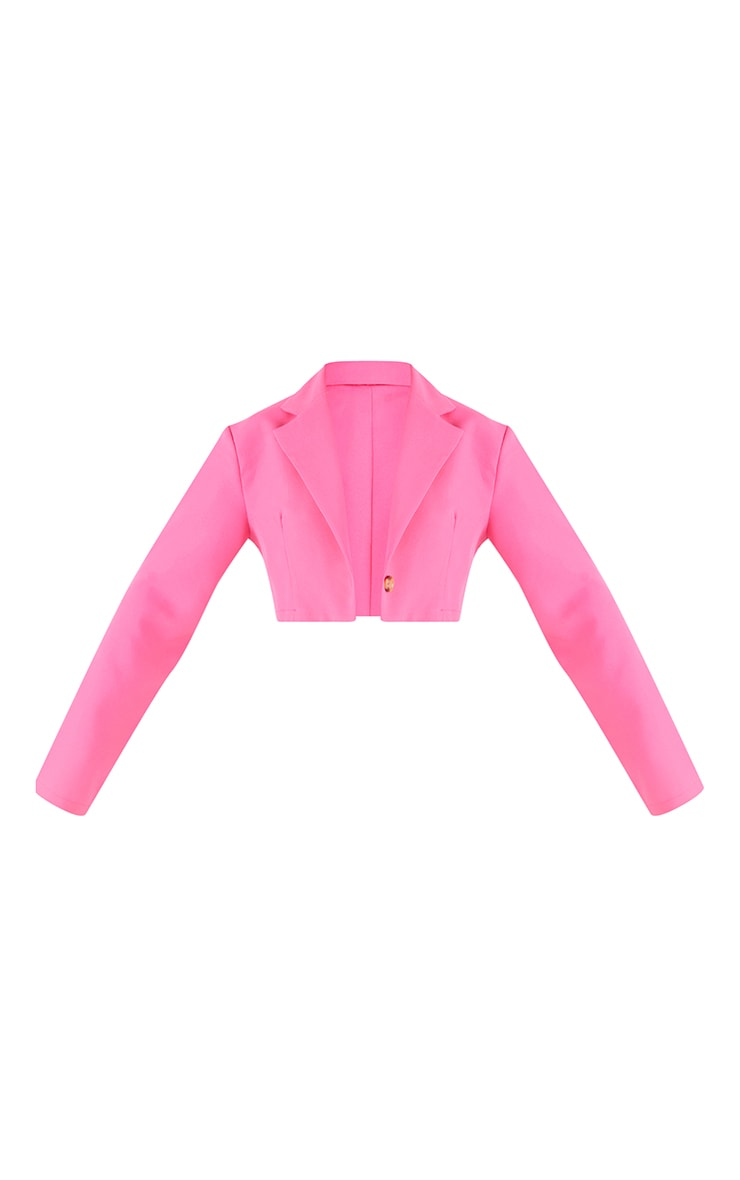 Hot Pink Woven Cropped Blazer 5