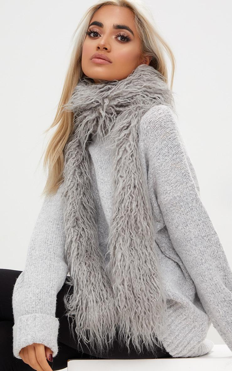 Grey Long Faux Mongolian Fur Scarf 1