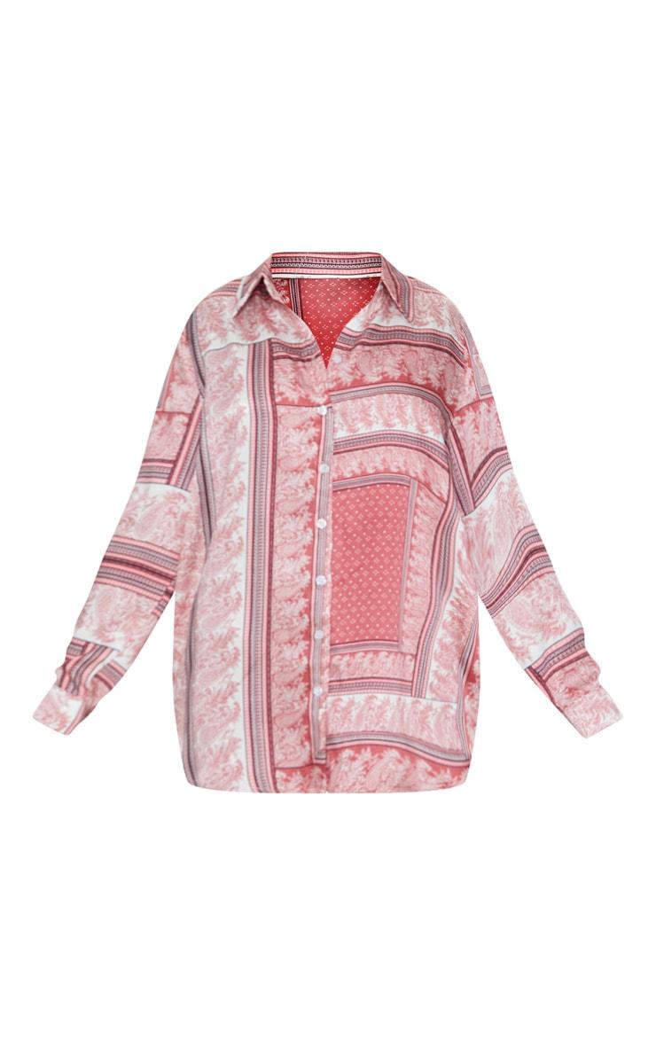 Red Paisley Print Beach Shirt  3