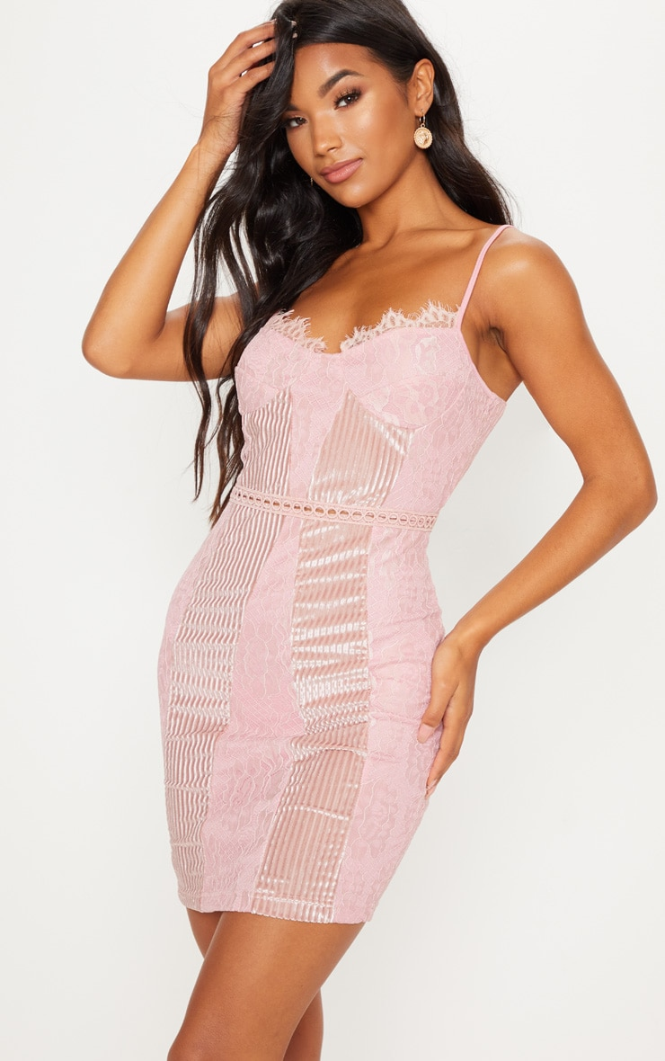 4a44de17e45c Pink Strappy Lace Velvet Insert Bodycon Dress image 1