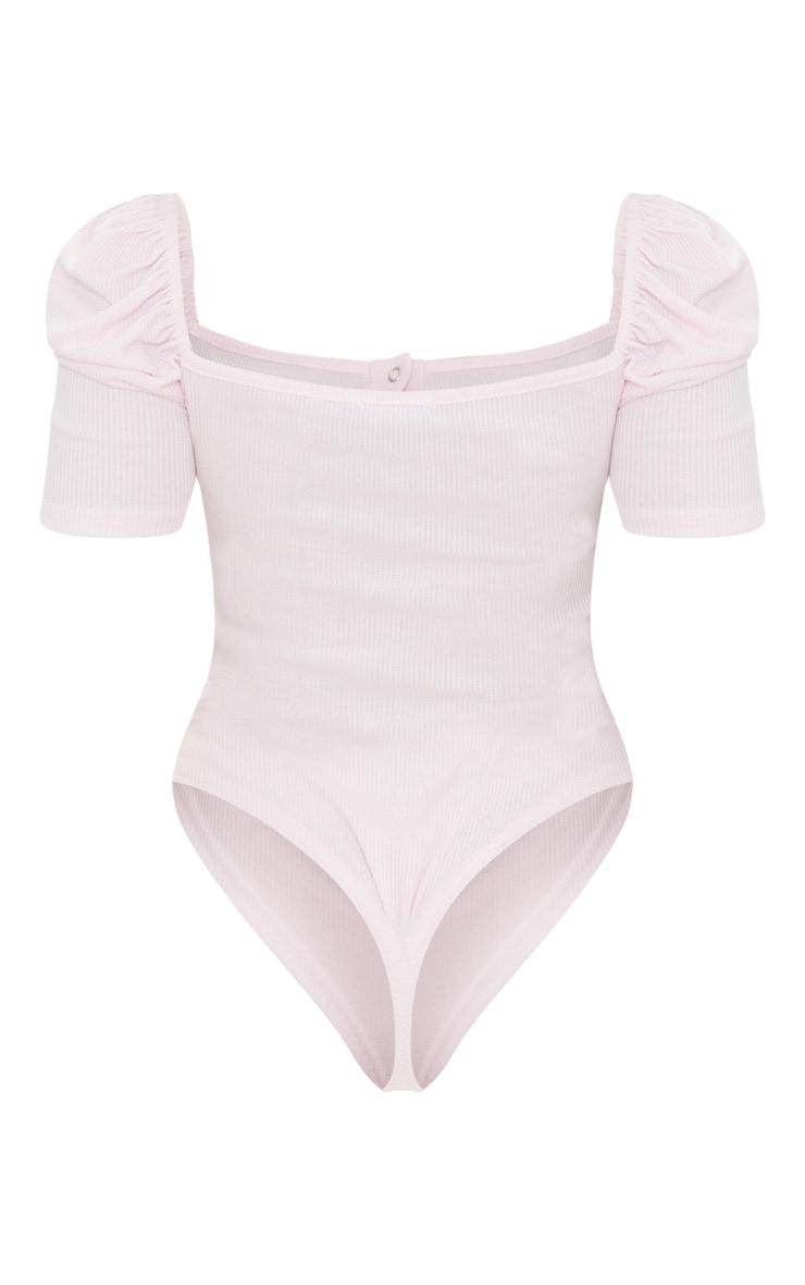 Baby Pink Rib Puff Short Sleeve Bodysuit 6