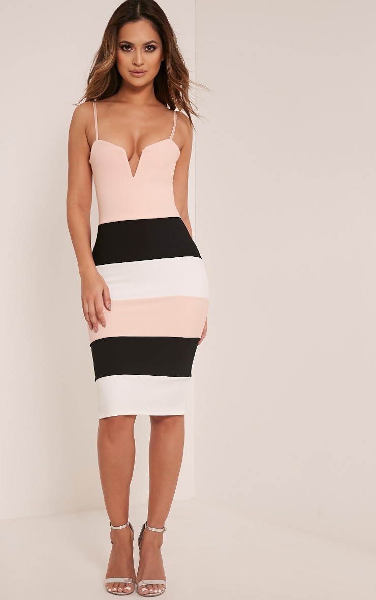 Ebony Nude Contrast Colour Block Bandage Dress 1