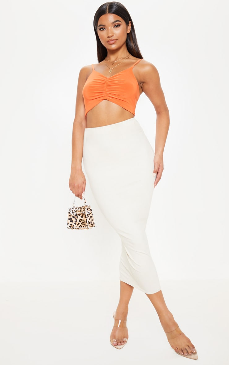 Orange Ruched Front Slinky Crop Cami 4