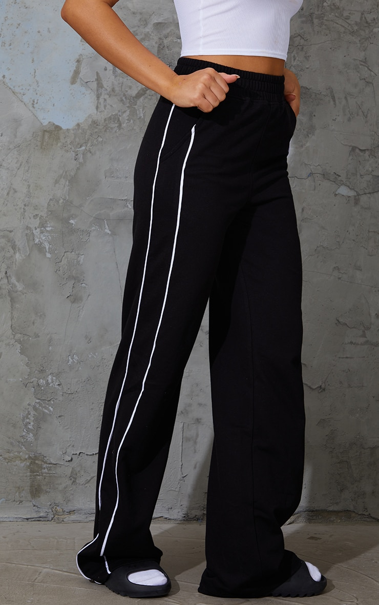 Black Piping Detail Wide Leg Joggers 2