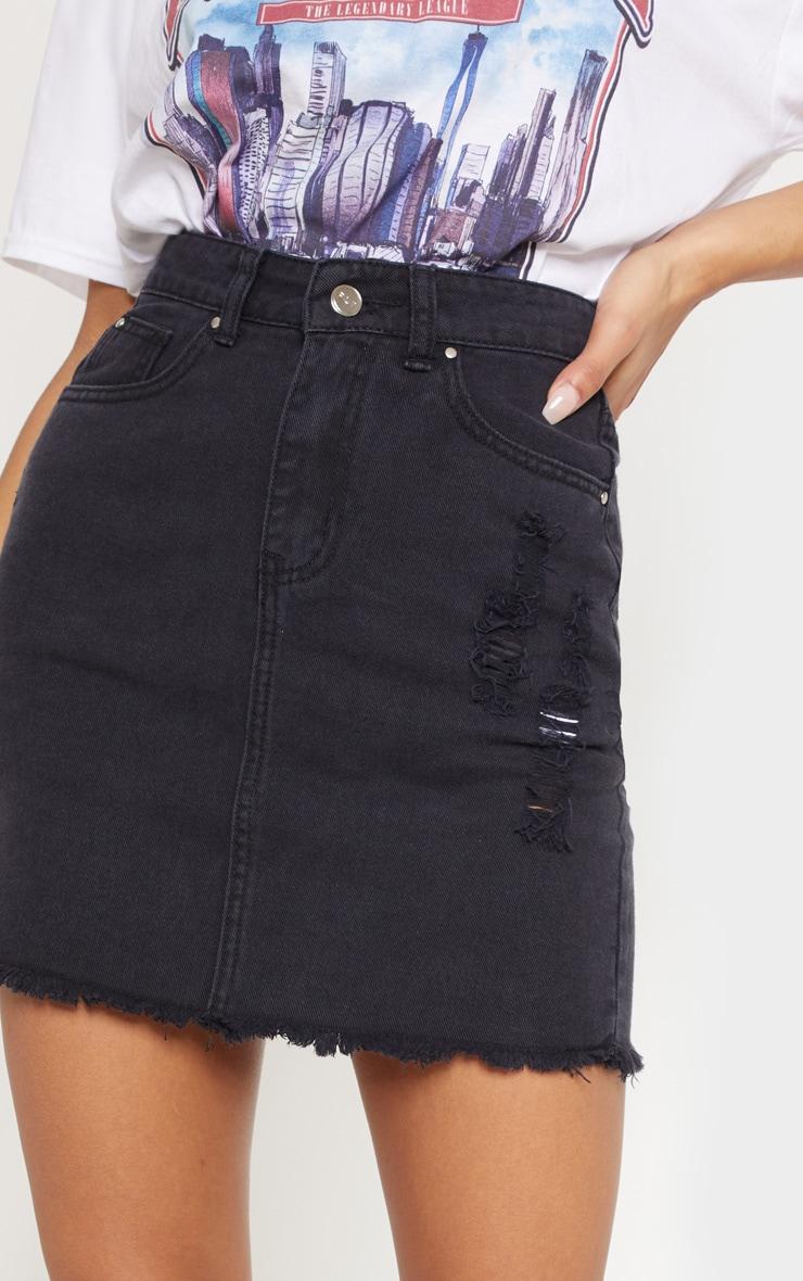 Washed Black Distressed Denim Mini Skirt 6