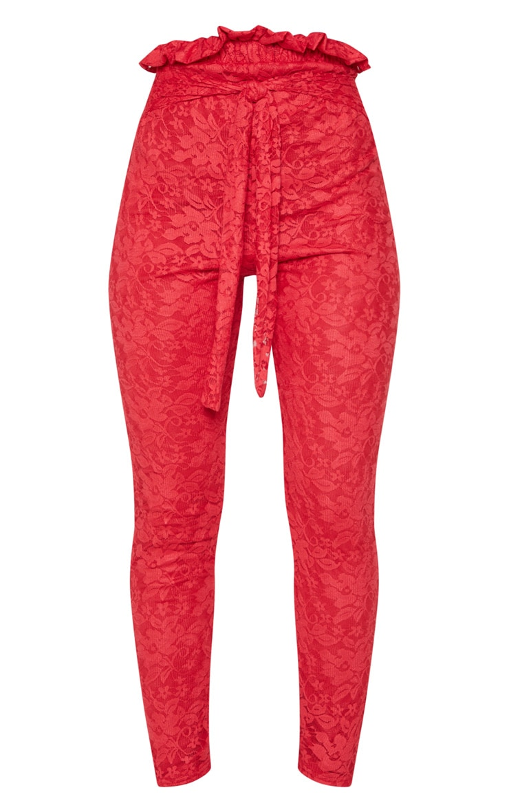 Red Lace Paper Bag Skinny Trouser 3