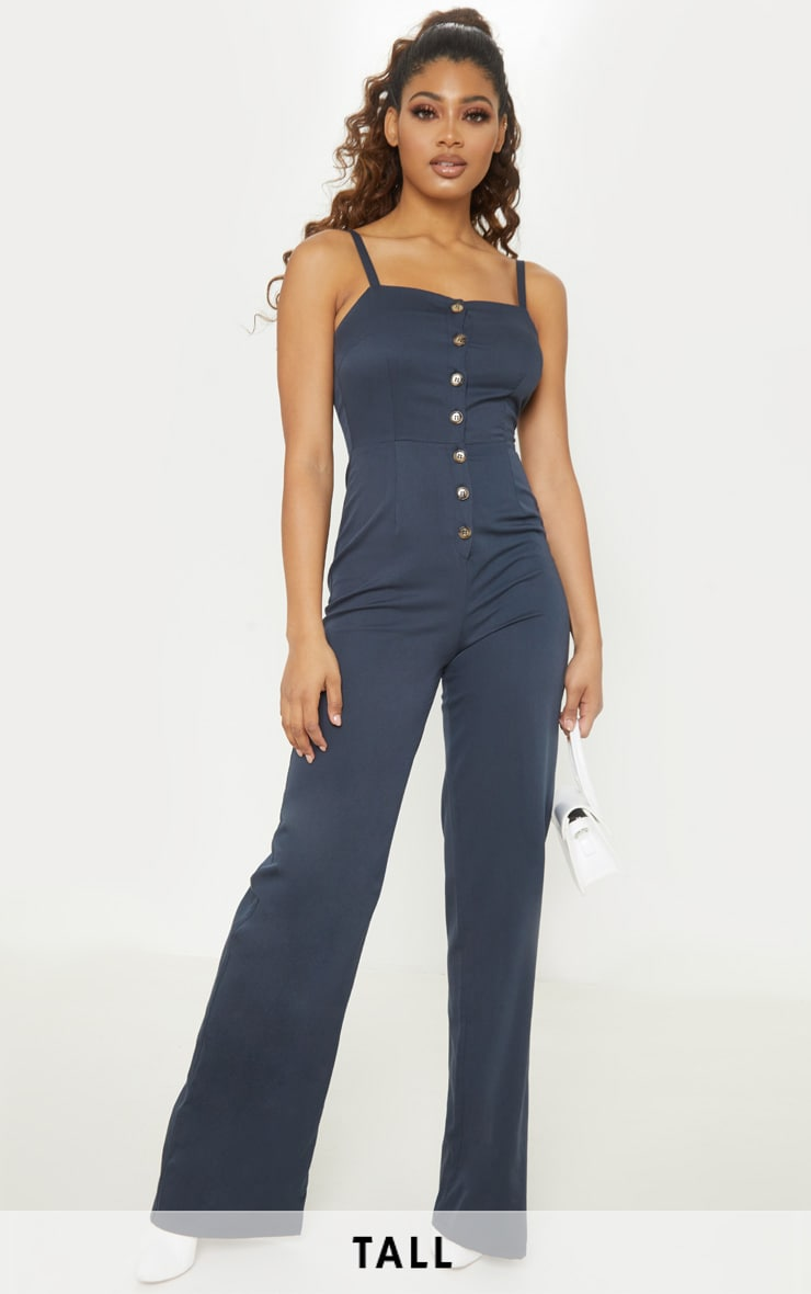 4185acc8765 Tall Navy Strappy Button Front Wide Leg Jumpsuit image 1