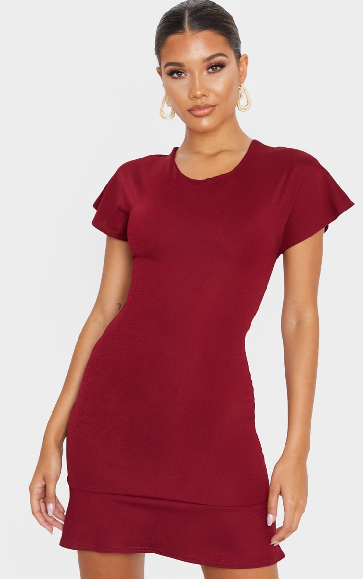 Burgundy Criss Cross Back Frill Hem Bodycon Dress 2