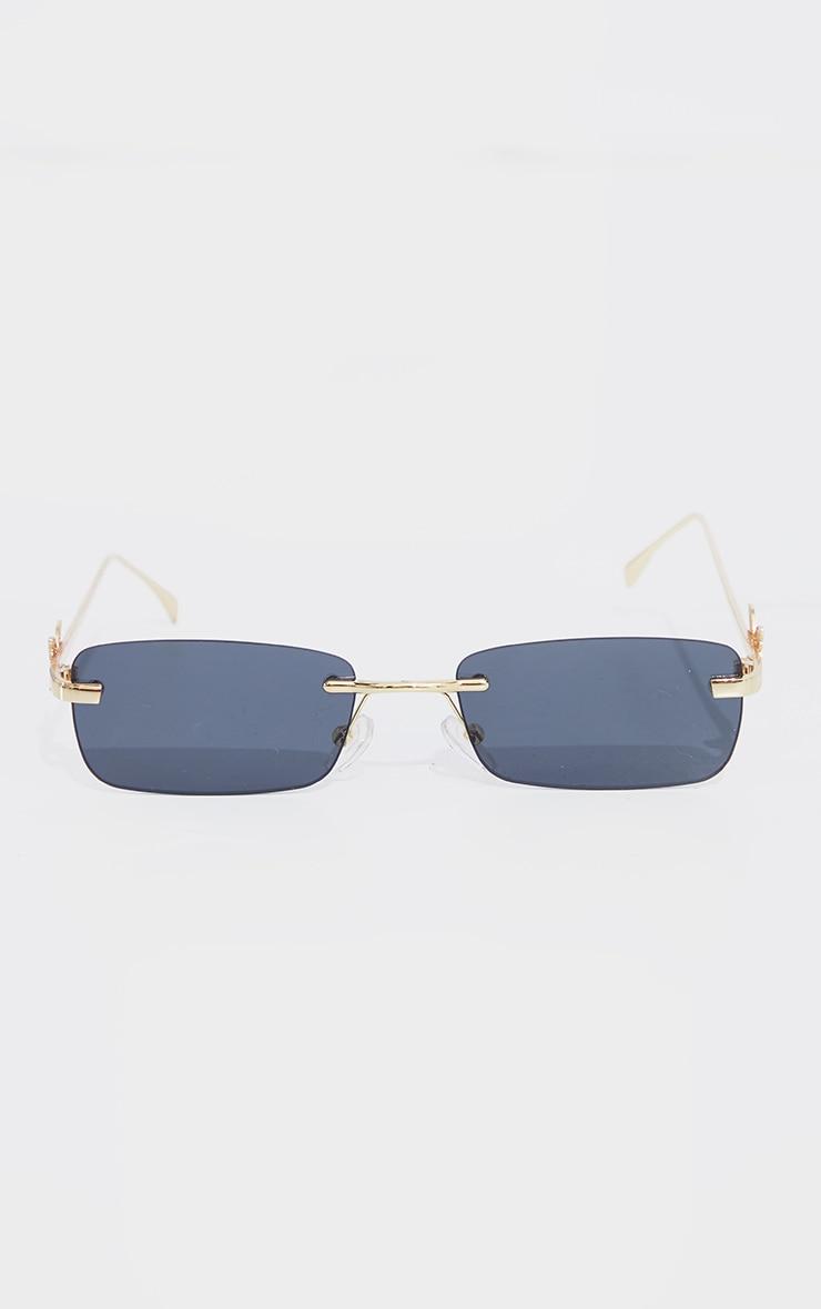 Gold Frame Black Lens Butterfly Sunglasses 2