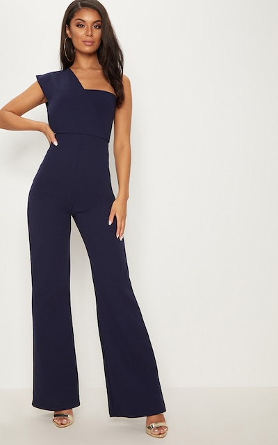 47d781273bd Navy Drape One Shoulder Jumpsuit