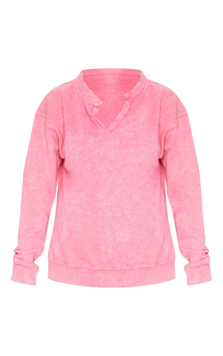 Light Pink V Neck Long Sleeve Washed Sweater 3
