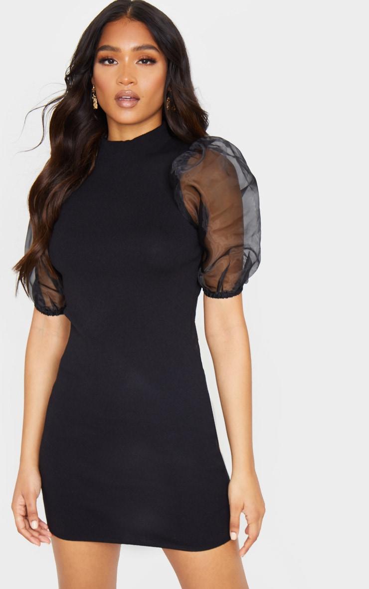 Black Organza Puff Sleeve Knitted Dress 1