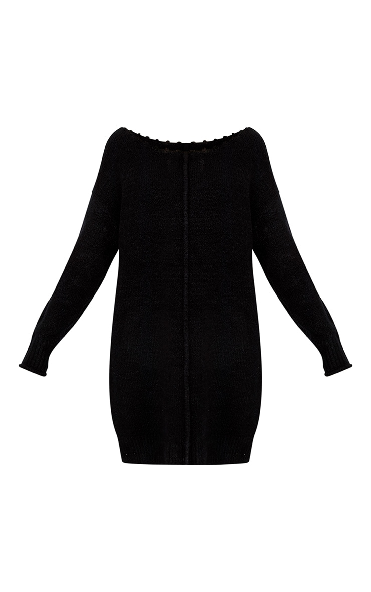 Selah Black Oversized Seam Detail Brushed Jumper Dress 3