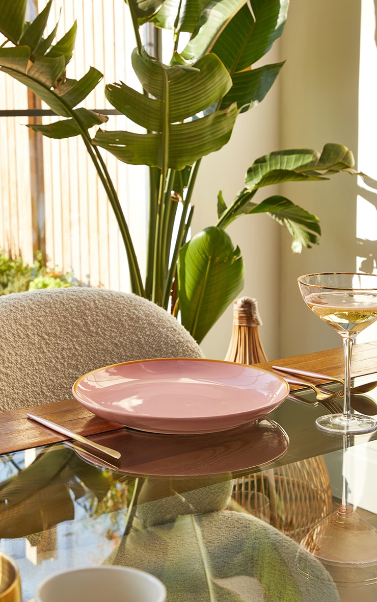 Pink Ceramic Dinner Plate 1