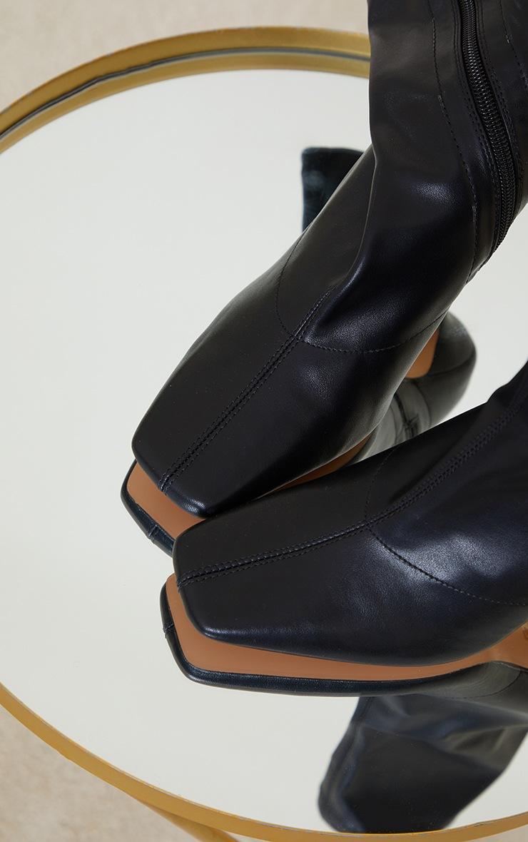 Black PU Mid Heel Square Toe Ankle Boots 3