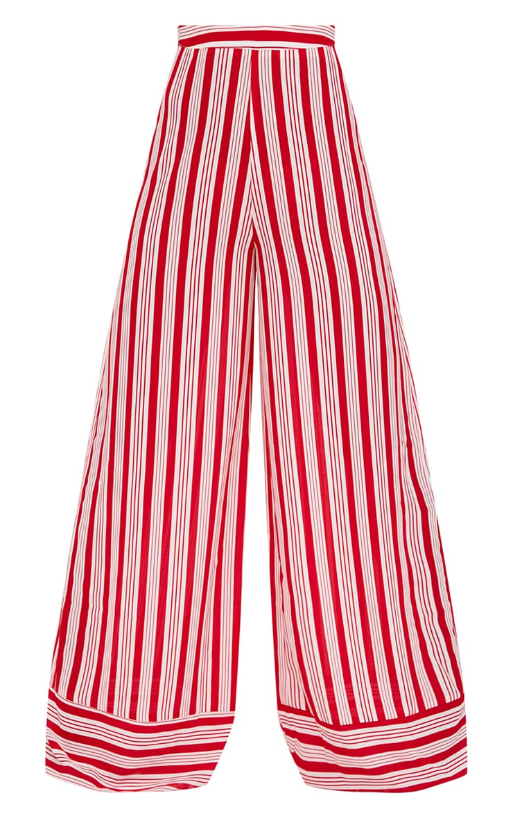 Red Contrast Stripe Mix Wide Leg Trousers 3