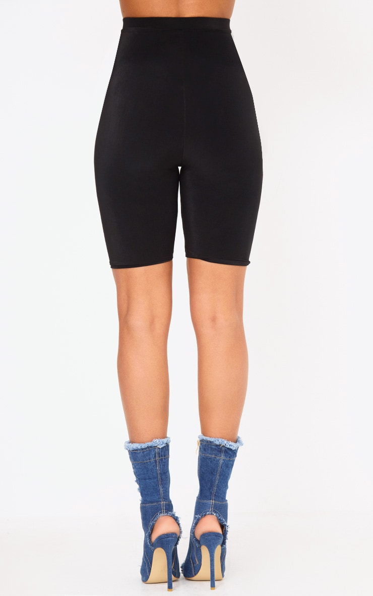 Black Slinky Lace Up Cycle Shorts 4