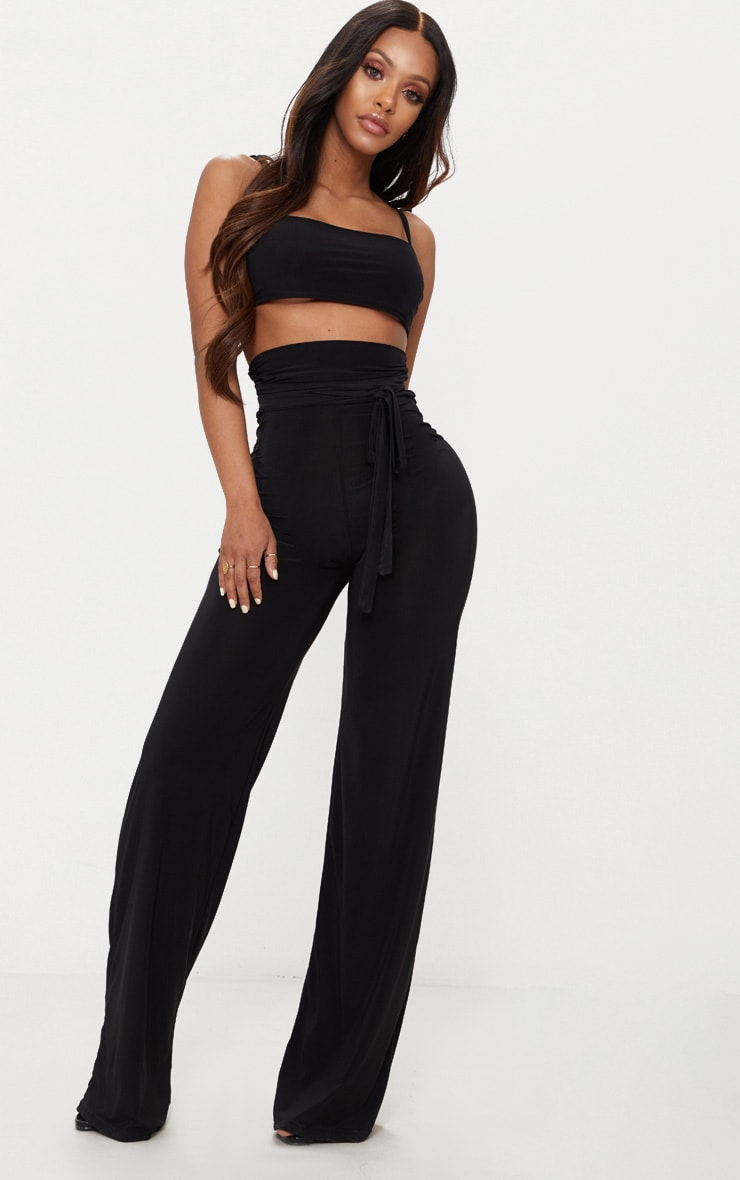 Shape Black Slinky Extreme High Waist Detail Wide Leg Pants 1