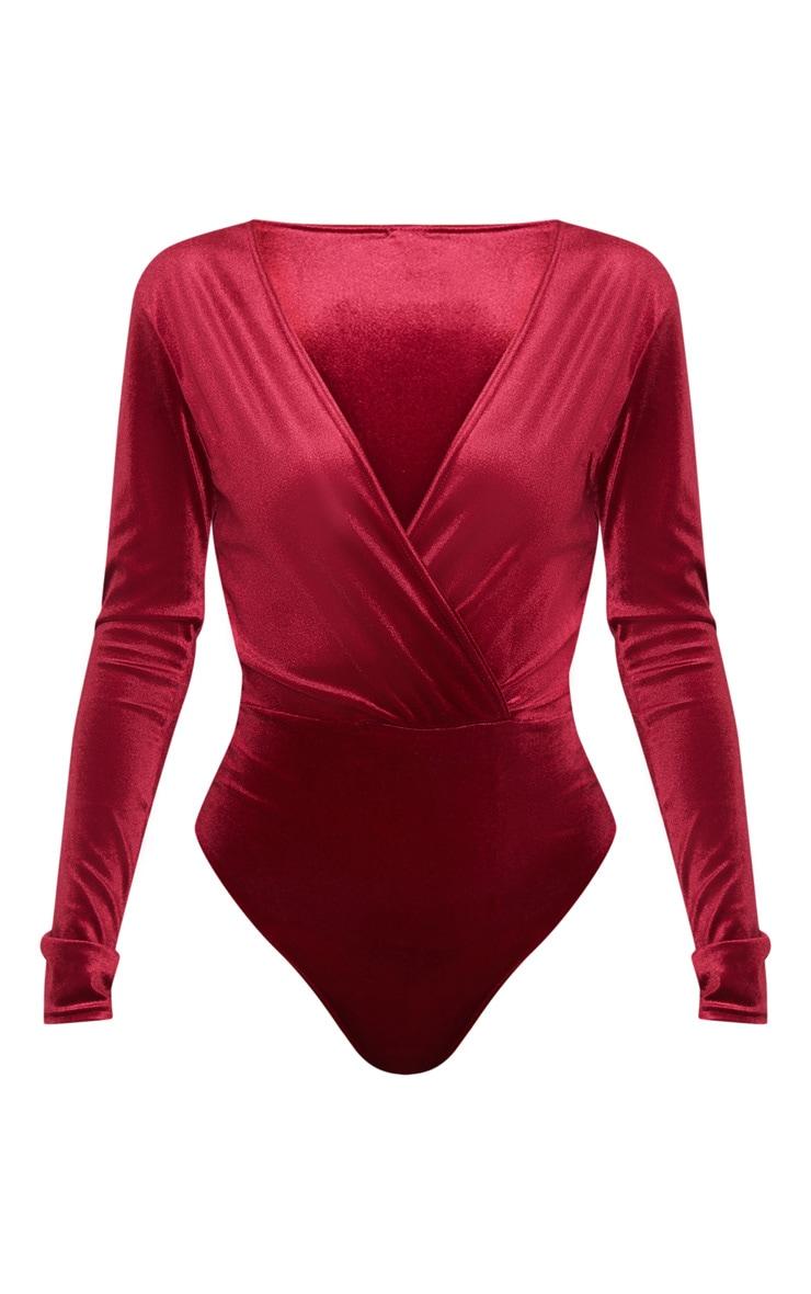 Burgundy Plunge Velvet Long Sleeve Bodysuit 3