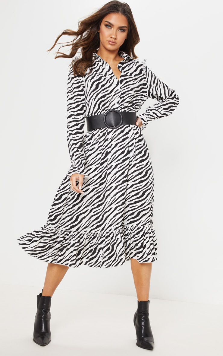 Black Zebra Print Button Front Frill Midi Shirt Dress 1