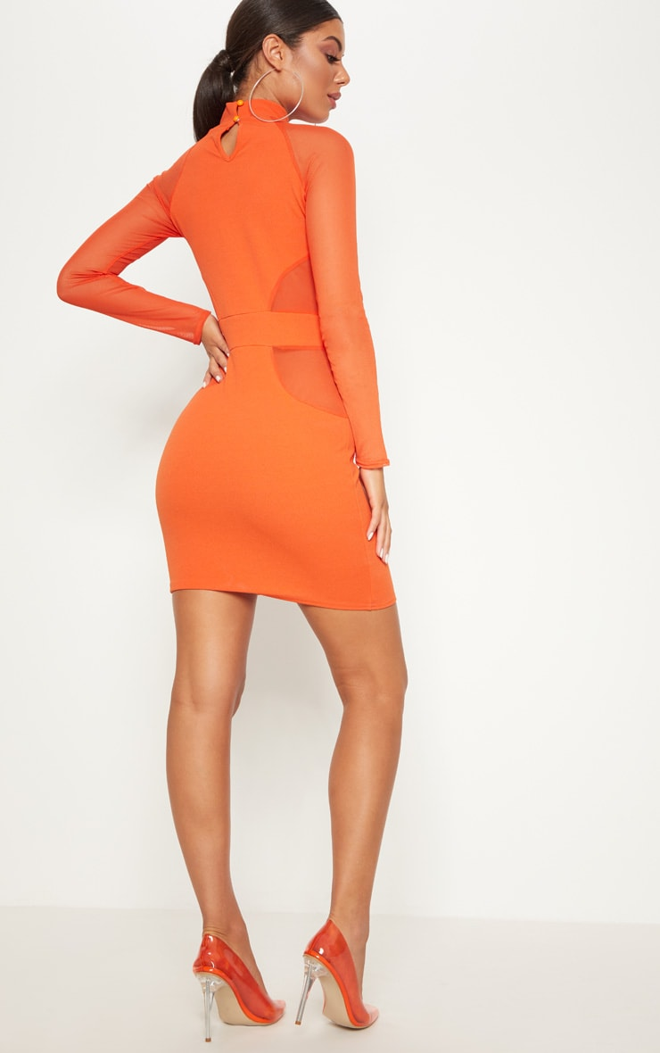 Bright Orange High Neck Keyhole Mesh Insert Bodycon Dress 2