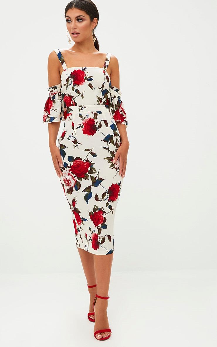 Cream Floral Cold Shoulder Midi Dress 1