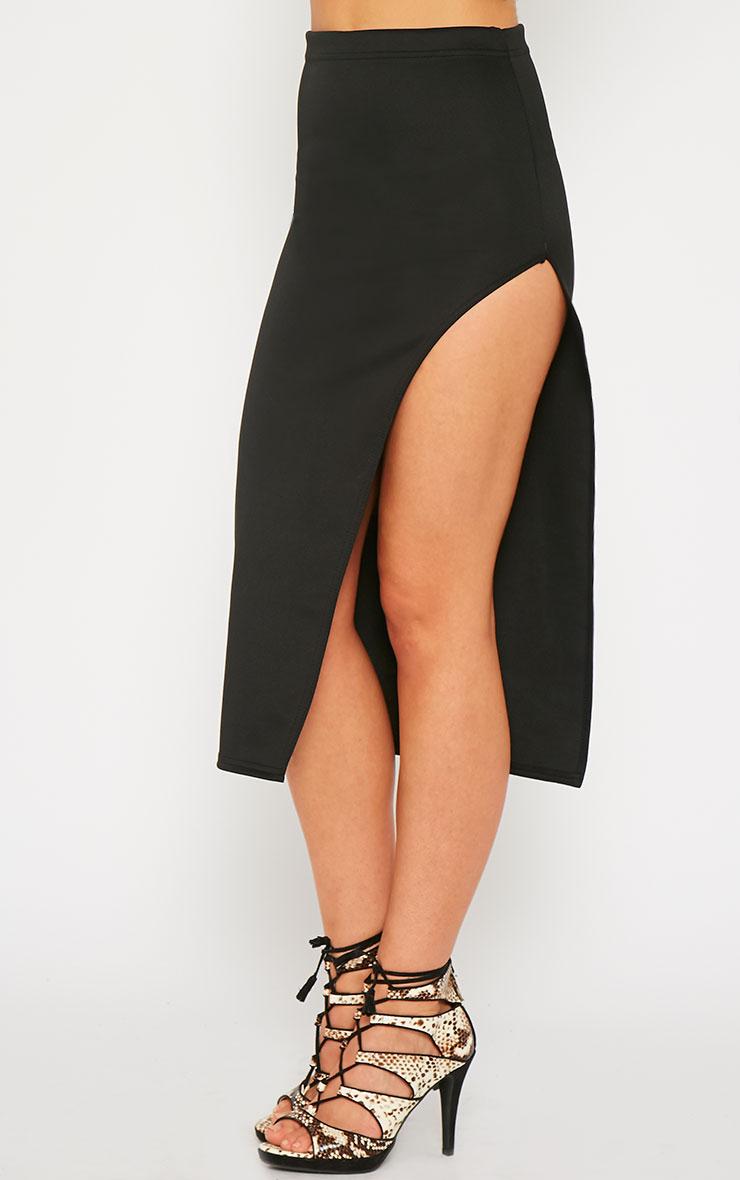 Savina Black Side Split Midi Skirt 3