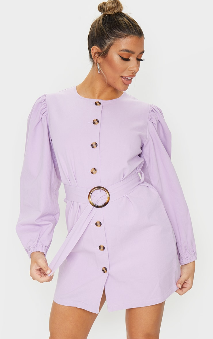 Lilac Button Through Balloon Sleeve Belted Denim Dress 3
