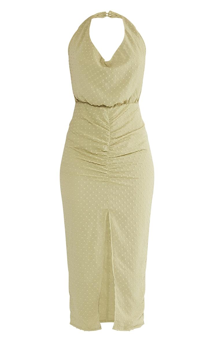 Sage Green Dobby Chiffon Halterneck Cowl Ruched Midi Dress 5