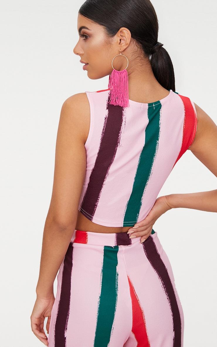 Light Pink Multi Thick Stripe Curve Hem Crop Top 2