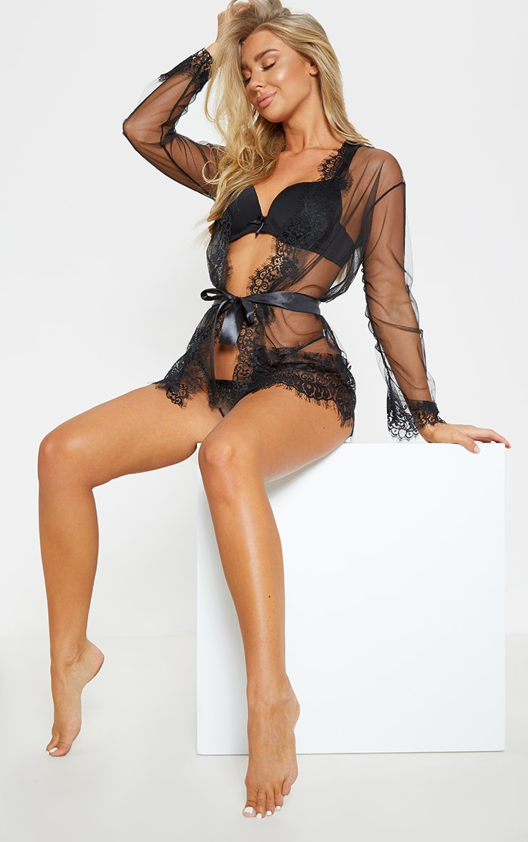 Black Mesh And Lace Sheer Robe And Knicker Set  4