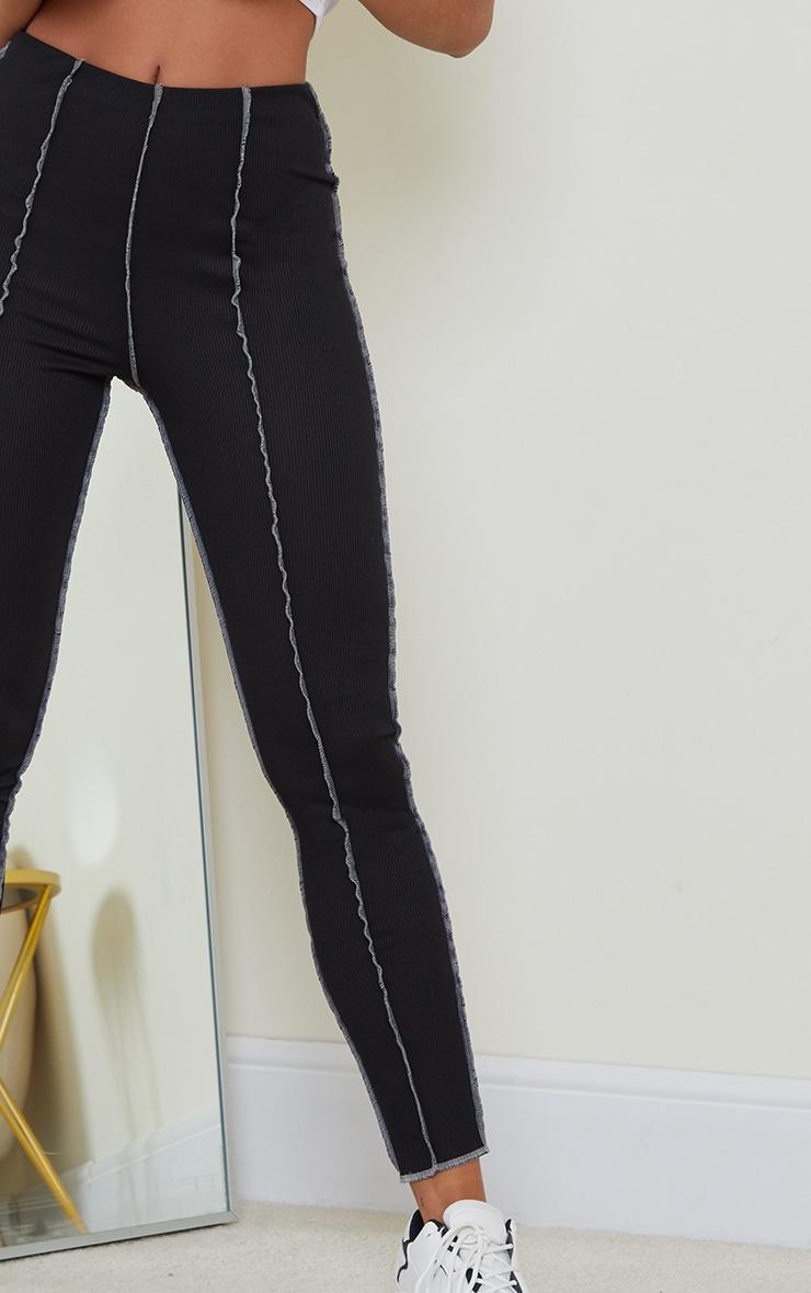 Black Ribbed Contrast Seam Detail Leggings 4