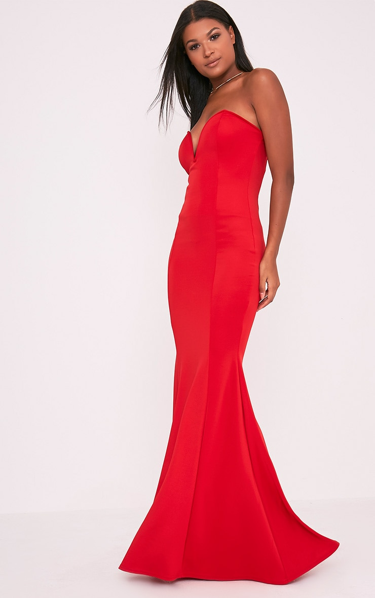 Wendie Red Sweetheart Fishtail Maxi Dress 1