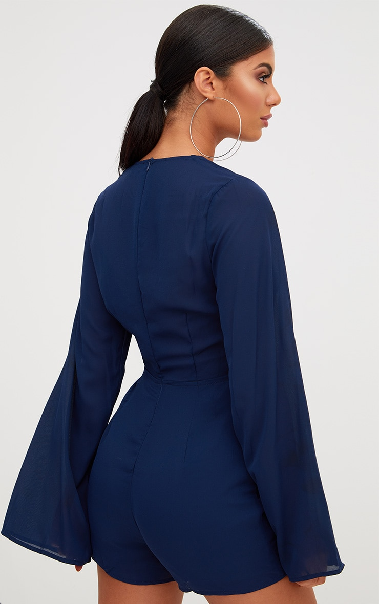 Navy Bell Sleeve Playsuit 2